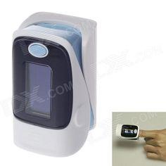 """KANGRONG 1.1"""" OLED SPO2 Fingertip Pulse Oximeter Heart Rate Monitor - White + Light Blue (2 x AAA)"""