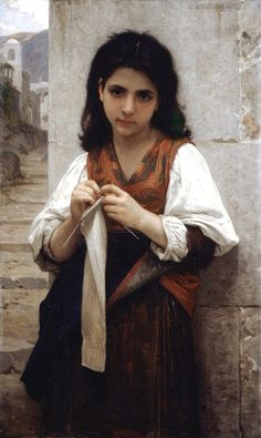"""""""Tricoteuse- the little knitter"""" - 1879 - William-Adolphe Bouguereau"""