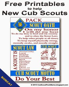 Free Printables for Cub Scouts earning Bobcat - Cub scouts tiger - Cub Scout Motto, Cub Scout Law, Cub Scouts Wolf, Tiger Scouts, Scout Mom, Girl Scouts, Cub Scout Skits, Cub Scout Games, Cub Scout Activities