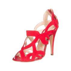 $170, Red Suede Heeled Sandals: Sophie Gittins Orient High Heeled Sandals Red. Sold by Zalando. Click for more info: https://lookastic.com/women/shop_items/95981/redirect