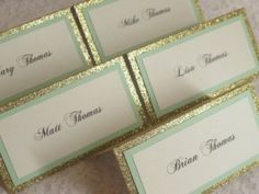 Gold Glitter & Mint Tented Place Cards