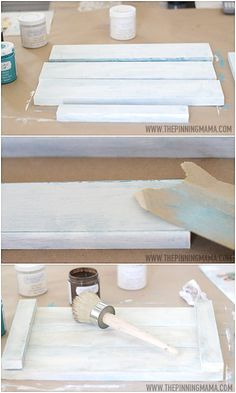 I LOVE Chalk paint! How to get a distressed white washed finish on any wooden surface with this chalky paint technique! Very shabby chic!