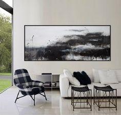 "original paisaje abstracto pintura arte extra grande horizontal negro minimalista moderno pared blanca ""mi querido viejo estanque"