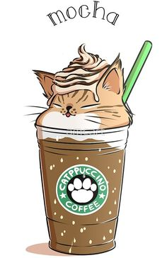 Mocha CATpuccino from amcart - Katzen - Cat Drawing Cute Food Drawings, Cute Kawaii Drawings, Kawaii Doodles, Cute Doodles, Cute Animal Drawings, Kawaii Art, Kawaii Anime, Cute Animals To Draw, Anime Cat