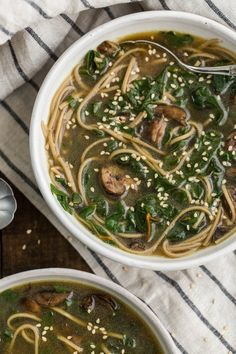 Recipe: Soba Noodle Soup with Mushrooms & Chard — Weeknight Dinner Recipes from The Kitchn | The Kitchn
