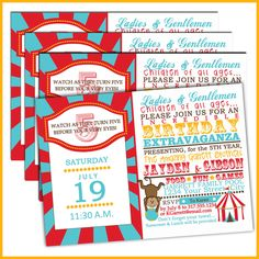 Carnival Birthday Invitations or Circus birthday invitations for Party Under the Big Top. $18.00, via Etsy.