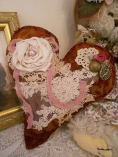 Victorian vintage style heart cushion