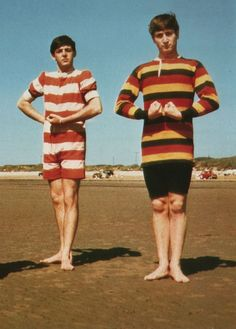 Paul McCartney and John Lennon on Brean Down Beach, Somerset, July Foto Beatles, Beatles Love, Beatles Art, John Lennon Beatles, Beatles Photos, Beatles Funny, Rock N Roll, John Lennon Paul Mccartney, British Invasion
