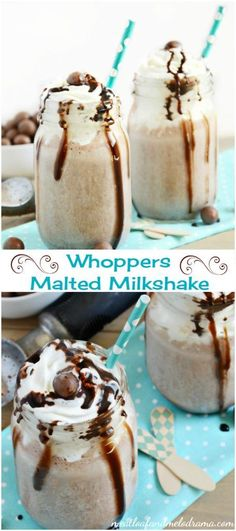 Whoppers Malted Milkshake -- an easy frozen chocolate summer dessert or treat made with only 3 ingredients!