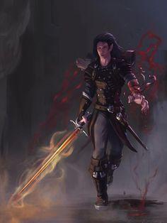 ArtStation - Kohar - The Shadar-Kai Blood Hunter, Phillip D. Fantasy Character Design, Character Drawing, Character Inspiration, Character Concept, Concept Art, Character Portraits, Character Ideas, Dnd Characters, Fantasy Characters