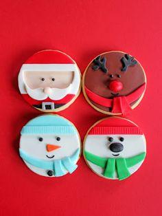 Santa, reindeer, snowman, polar bear circle sugar cookies