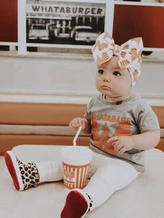 It doesn't get much cuter than this Texas babe rocking her Whataburger bow! Shop the link below + get yours! Cute Outfits For Kids, Toddler Outfits, Baby Outfits, Baby Bows, Baby Headbands, Toddler Fashion, Kids Fashion, Twin Birthday Parties, Baby G