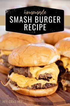 These Homemade Smashburgers are the ultimate juicy restaurant burger lovingly grilled in your own backyard. They're buttery, crispy, and made with good, simple ingredients. There's no need to spend a ton of dough in a burger joint when you can make your own amazing smashburgers at home! Best Burger Recipe, Burger Recipes, Grilling Recipes, Beef Recipes, Grilling Ideas, Cooking Recipes, Flat Top Grill, Grilled Beef, Grilled Food