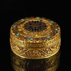 GILT SILVER TRINKET BOX INLAID