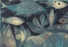 Paul Klee (1879-2040), Fische in der Tiefe (Fishes in the Deep), 1921. Watercolour on paper on (not shown) cardboard. 16cm H x 21.7cm W.