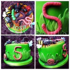 Minibeasts/insects/bug themed birthday cake by Keisha's Creationz featuring fondant modelled spider, slug, snail, ladybird, bee, beetle, worms, caterpillar, wood louse, millipede and ants