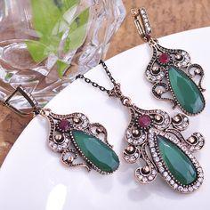 Luxury Emerald Turkish Jewellery Retro Loyal Vintage Jewelry Sets Turkey Necklace Earring Set Bijoux Women Conjunto De Joias Old Like it?Visit us: www.jewelryabo.co... #shop #beauty #Woman's fashion #Products #homemade