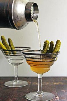 Dill pickle vodka martini
