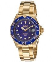Invicta Pro Diver Quartz Blue Dial Date 18K Gold Plated Stainless Steel Watch# 17058 (Men Watch)
