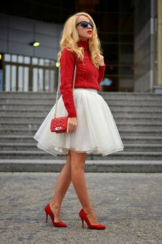 tulle skirt + red sweater <3