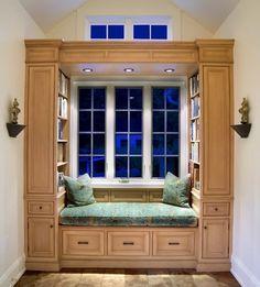custom reading nook with built in lighting