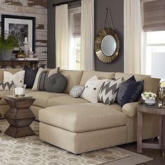 Sutton U-Shaped Sectional by Bassett Furniture. Casual style and soft comfortable Bassett furniture. New Living Room, Home And Living, Living Spaces, Living Room Decor Tan Couch, Cream Sofa Living Room Color Schemes, Beige And Grey Living Room, Cozy Living, Living Room Inspiration, New Homes
