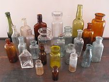 OLD ANTIQUE CORK TOP RARE YELLOW AQUA AMBER COLOR GLASS VTG MEDICINE BOTTLE LOT