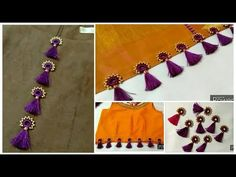 How to make Ready Made KuchuTessels with few materials at Home easily & Sell Saree Kuchu New Designs, Cotton Saree Blouse Designs, Saree Tassels Designs, Wedding Saree Blouse Designs, Hand Work Blouse Design, Simple Blouse Designs, Blouse Neck Designs, Hand Embroidery Videos, Hand Embroidery Designs