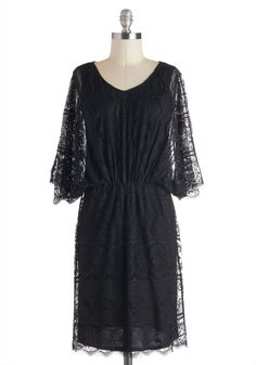 Cafe Society Dress - Mid-length, Black, Solid, Lace, Cocktail, Film Noir, 3/4 Sleeve, 30s