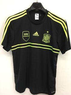 MENS LARGE ADIDAS ESPANA SPAIN  RFCF SOCCER SHIRT BLACK NEON GREEN LOOKS NEW #ADIDAS #SPAIN