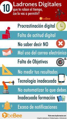 10 Ladrones Digitales que te roban el Tiempo, ¿se lo vas a permitir? #infografia