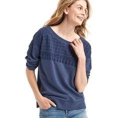 Gap Women Embroidered Yoke Sweatshirt featuring polyvore, women's fashion, clothing, tops, hoodies, sweatshirts, comet blue, regular, embroidered top, gap sweatshirt, blue top, embroidery top and embroidered sweatshirts