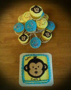 1St Birthday Monkey Cake & Cupcakes