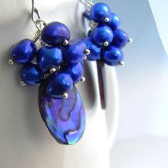 Purple Cluster Earrings Abalone Shell & Cobalt by cindylouwho2, $50.00