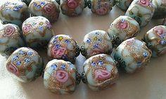 Vintage Venetian Murano Fancy Roses Aventurine Glass Bead Necklace 105g 23 beads