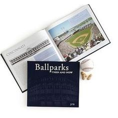 Leather Bound Book, Baseball Parks Then and Now, Navy