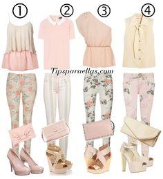 #lookdeldia   Estilo #nude #monocromático  Pantalones floreados con tendencias de colores beige, hueso, rosa, nude. ¿Cuál les gusta?  #tipsparaellas