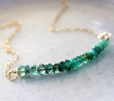 Emerald Ombré Necklace Green Emerald Gold Necklace by PallasGem, $60.00