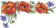 Red flower corner cross stitch free embroidery design - Cross stitch machine embroidery - Machine embroidery community