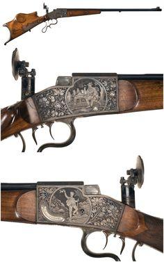 Engraved Aydt system German schuetzen single shot target rifle, late 19th century.