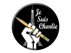 """Bonjour, mes amis!  Nous sommes Charlie!  Here is a """"Je Suis Charlie"""" Magnet  I Am Charlie Hebdo Round, Flat-Backed Fridge Magnet by psychedelictara"""