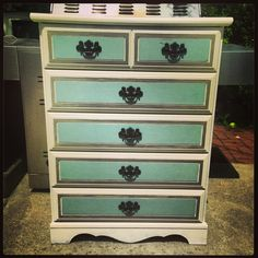 repainted dresser done in #ASCP #duck egg blue #old white oil rubbed bronze hardware.  shabby beachy chic