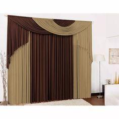 cortina elegance 3,00x2,80 tabaco e avelã p/sala ou quarto