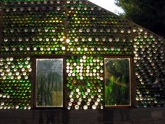 Glass bottles upcycled into a greenhouse... Beit Igzaz – The Greenhouse