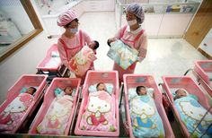 OMG... how cute is this Korean nursery in the hospital? American babies don't get Hello Kitty receiving blankets!