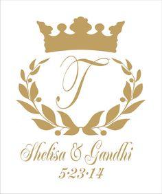 "Stencils Custom Monogram Stencil  Wedding Stencil  10"" Tall x 8"" Wide  with wreath and Crown All Letters A-Z"