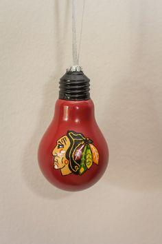 Chicago Blackhawks Bulb Ornament by SewCharmingCrafts on Etsy