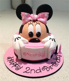Amanda's Cakes and Invitations - Birthday Cakes- mini mouse cake Minni Mouse Cake, Bolo Da Minnie Mouse, Mickey And Minnie Cake, Minnie Mouse Theme, Mini Mouse 1st Birthday, Minnie Birthday, Birthday Cake Girls, Birthday Cakes, Theme Mickey