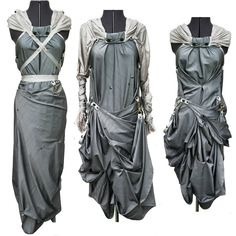 Convertible Snap attack Nicole Dress - Haute Couture Indie Art Wear - Gun Metal gray - Victorian medieval Hybrid Hustle Bustle Romantic fashion.