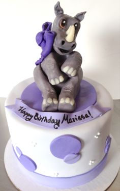 Rhino Purple Birthday Cake